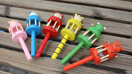 Wholesale Kids Musical Bells - Wholesale-N198-A Wooden Musical Instrument Rattle Toy Baby Kid Infant Educational Gift toys wooden crafts wooden rattle bed bell ringing