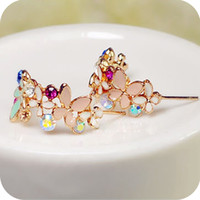 Wholesale Studs 5g - Wholesale-OMH wholesale 12pair OFF 23%= $0.75 pair EH49 flower elegant crystal garland butterfly flower stud earrings female 5g