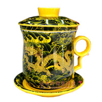 Wholesale Black Clay Teapot - Palace Royal Black Dragon Bone China Cups and Saucers Ceramic Porcelain Chinese Giant Tea Cup With Lid And Saucer One Cup Teapot