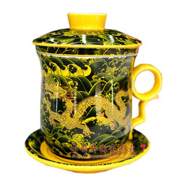 Wholesale Chinese Tea Set Dragon - Palace Royal Black Dragon Bone China Cups and Saucers Ceramic Porcelain Chinese Giant Tea Cup With Lid And Saucer One Cup Teapot