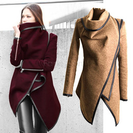 Женские толстые шерстяные зимние пальто онлайн-Wholesale-Cheap Female Overcoat Long Wool Women Coat Winter trench Thick Solid Long Sleeve Warm Red/Yellow Plus Size M-XXXL Fashion 34