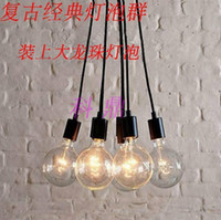 Wholesale Edison Pendants - Retro classic chandelier bulbs E27 lamp holder group Edison line diy lighting lamps lanterns accessories LED messenger wire