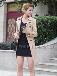 Wholesale Woman Double Breasted Dress Coat - Wholesale-2015 European and American fashion winter coat women's large size windbreaker coat Slim Trench Coat for Women Casual Dress