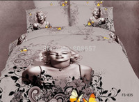 Wholesale Black White Painting Set - 3D oil painting sexy Marilyn Monroe print bedding full queen super king size bed quilt duvet covers sets 4 pcs red black white