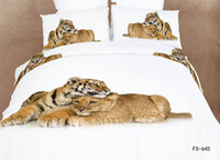 Wholesale Duvet Covers Set Printed Oil - 3D white horse bedding set queen size 4pcs Luxury oil painting comforter duvet cover Animal bed sheet bedclothes set cotton