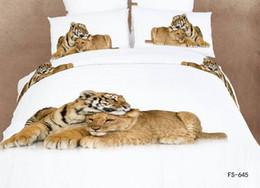 Wholesale Oil Painting 3d Bedding Sets - 3D white horse bedding set queen size 4pcs Luxury oil painting comforter duvet cover Animal bed sheet bedclothes set cotton