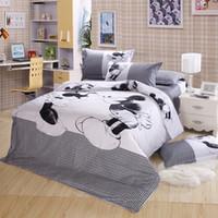 Wholesale Double Set 4pc - Mickey Mouse kids print bedding set 4pc bedclothes 100% Cotton king queen size Duvet Comforter Quilt Cover bed linen sets double
