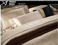 Wholesale 6pcs Comforter Set - 6pcs Jacquard home textile Luxury Silk bedding set queen king size Satin comforter duvet quilt cover bedclothes bed sheet cotton