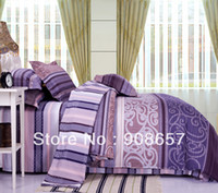 Wholesale Discount Bedding Quilts - purple Europe prints cotton girls bedding discount bedsheet twin full queen king quilt duvet covers bed cover set 4pc bed linens