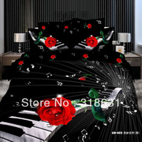 Wholesale Duvet Cover Music Notes - Hot ! New Listing Modern Chic Design Music Note Black Duvet Cover Bedclothes Bed Linen Comforter Sets 4 or 5pcs Queen Red Rose