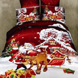Wholesale Santa Claus Duvet - Merry Christmas duvet comforter cover queen size 4pcs Santa Claus Deer bed set bed linen bedclothes bedding set home textile
