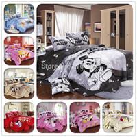 Wholesale Quilt Double - 2015 new Bed set 3pc bedclothes 100%Cotton mickey mouse Duvet Comforter Quilt Cover bed linen sets double queen size Bp4
