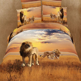 Wholesale Tiger Print Duvet Cover - Animal print 3d bedding sets queen size 4pc oil painting Lion tiger leopard duvet cover bed sheet bedclothes cotton home textile
