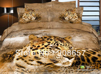 Wholesale Leopard Comforter Twin - brown leopard animal pattern bedding set cotton bed linens cheaper home textile quilt duvet covers sets for Queen Full comforter