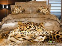 Wholesale Leopard Quilt Comforter Set - brown leopard animal pattern bedding set cotton bed linens cheaper home textile quilt duvet covers sets for Queen Full comforter