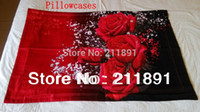 Wholesale 3d Unique Comforter Sets - Unique 3D Red Rose bedding sets queen 4pcs princess comforter duvet quilt cover bed linen flowers bedclothes cotton home textile