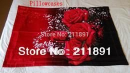Wholesale Princess Quilts - Unique 3D Red Rose bedding sets queen 4pcs princess comforter duvet quilt cover bed linen flowers bedclothes cotton home textile