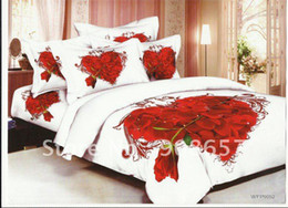 Wholesale Discount Bedding Quilts - red rose flower heart shape discount duvet quilt covers sets 4pc for home textile Full Queen comforter bedding sets 4pc bedlinen
