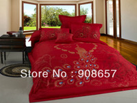 Wholesale Peacock Comforter Set Full - new 100% Cotton bedlinen oriental red peacock bird prints bedding cheaper comforter covers discount full queen bed in a bag set