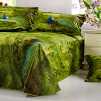 Wholesale Green Peacock Bedding - new green peacock print 3d oil painting bedding set 4-5 pieces queen size comforter duvet covers Egyptian cotton 800TC bedlinens