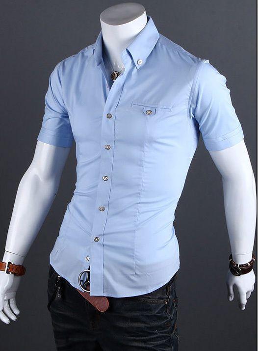 173a6aede03 Wholesale-2015 Short Sleeve Mens Slim Fit Shirts Summer Neckline ...