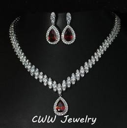 conjuntos de jóias para damas de honra por atacado Desconto Atacado-2015 projeto nigeriano grande gota de água CZ diamante Red Ruby cristal de casamento conjuntos de jóias de noiva presentes para damas de honra (T110)