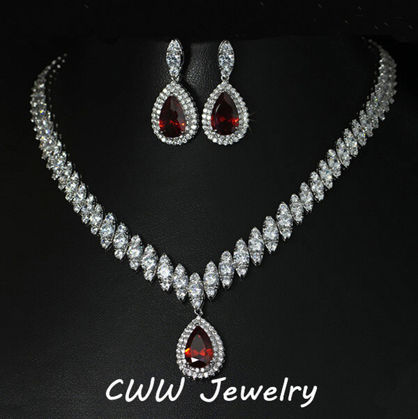 Wholesale-2015 Nigerian Design große Wassertropfen CZ Diamant rot Rubin Kristall Hochzeit Brautschmuck Sets Geschenke für Brautjungfern (T110)