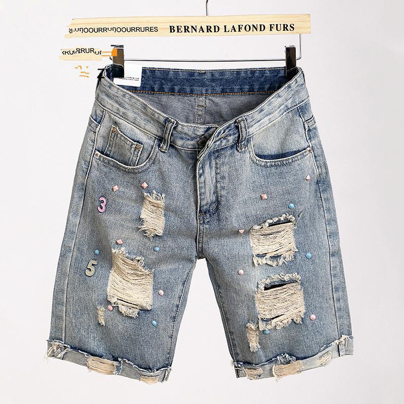 2017 Summer Jeans Women Knee Length Half Ripped Hole Denim Shorts ...