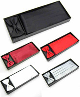 Wholesale Men S Ties Sets - Wholesale-Free shipping 2015 Mens Wedding Tuxedo Bow tie Set Cummerbund Hanky Pocket Towel Gift Box Black Red White Solid Bowtie Cravat