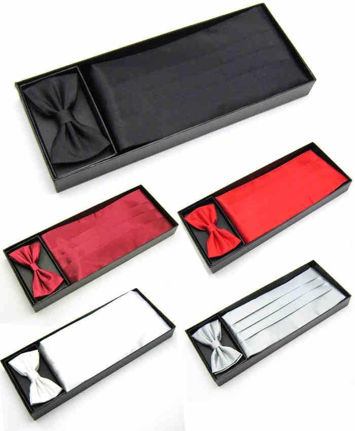 Gros-Livraison gratuite 2015 Mens Mariage Tuxedo Bow tie Set Cummerbund Hanky Poche Serviette Cadeau Boîte Noir Rouge Blanc Solide Bowtie Cravat