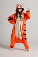 Wholesale Japan Cartoon Costume - Free Shipping+New Adult Unisex Fashion Pajamas Cosplay Japan Costume Cute Cartoon Animal Bengal Tiger Onesie Pyjamas Sleepwears