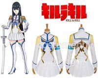 Wholesale Japanese Women Cotton Tops - KILL la KILL Kiryuuin Satsuki Japanese Anime cosplay costume girls Short White dress Long Sleeve Top For Women