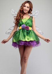 Wholesale Girls Dresses Tinker Bell - Halloween costumes for kids Elves tinker bell cosplay costume queen party dress anime clothes for girls with Wings