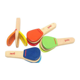 Wholesale Infant Castanets - Wholesale-2015 New Arrival Cheap long wooden handle castanets infant early education teaching aids Children Toy Musical Instrument