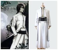 Wholesale Ulquiorra Costume - Halloween   Masquerade Adult Coser Anime BLEACH Cosplay Whit Ulquiorra Cifer Costumes 2pcs Coat  Pant Japanese Kimono Suit