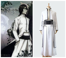 Wholesale Kimono Pants - Halloween   Masquerade Adult Coser Anime BLEACH Cosplay Whit Ulquiorra Cifer Costumes 2pcs Coat  Pant Japanese Kimono Suit