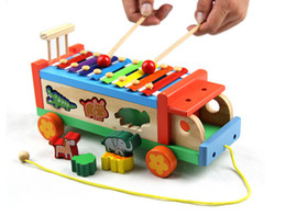 Wholesale Pounding Bench - Wholesale-Baby Toy Wooden Pound & Sound Musical Bench Xylophone Double Pounding Early Childhood Preschool Training Toys