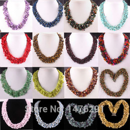 """Wholesale Turquoise Stone Chip Beads - Wholesale-18 Kinds of Stone Fluorite Turquoise Garnet Coral Opal Chip Beads Necklace 18""""L"""