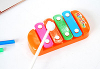 Wholesale Cheap Kids Toy Piano - Wholesale-Cheap Mini Handheld Colorful 4 Tones Hand Knock Piano For Kid Baby Enlightenment Development Musical Toy Free Shipping GGHHWJ022