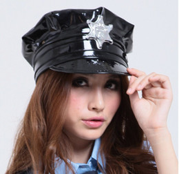 Sex Cosplay Anime Pas Cher-Livraison gratuite Sexy Black Girl / Lady's Police Uniform PU Leather Latex Cosplay Sex Hats Caps H1706