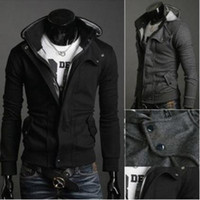 Wholesale Mens Cardigan Styles - Wholesale-New Coats Men Outwear Mens Special Hoodie Jacket Coat Men Clothes Cardigan Style Jacket Free Shipping 3 Colors Size M-XXXL HS781