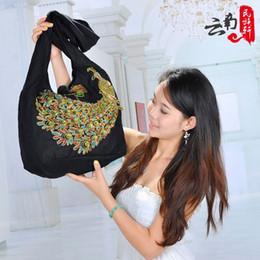 Wholesale Embroidered National Trend Bag - Wholesale- new women's national trend Embroidered Peacock shoulder bag messenger bag bohemia vintage Embroidery handbag