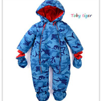 Wholesale Kids Winter Snowsuits - Wholesale-Baby Snow Wear Hooded Baby Winter Star suit Snowsuits Romper Infant Jumpsuit Roupas bebe Menino Coat Kids Clothes Femininos 0-2T