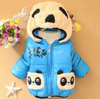 Wholesale Cheap Boys Hooded Jacket - Wholesale-Cheap china clothes,New 2015 winter baby boy and girl cotton jacket, toddler kids cartoon panda warm coats For 0-3 year old