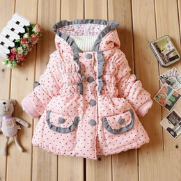 Wholesale Girl Jackets Cartoons - Wholesale-Children Clothing kids Jacket 2015 Autumn and winter girl Brand Overcoat baby Cartoon coat Cotton-padded clothes