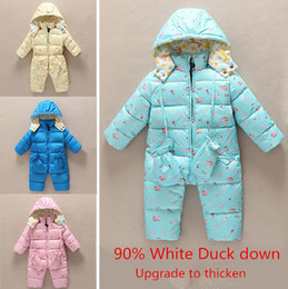 Wholesale Winter Snowsuits For Babies - Wholesale-baby Winter down Rompers Infant Boy's Girl's Warm thicken Jumpsuits Down Overalls outwears for Winter baby snowsuits