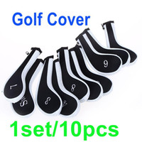 Headcovers gros-1Réglez / 10Pcs Golf Club fer Putter Head Cover Protect Set néoprène noir avec blanc