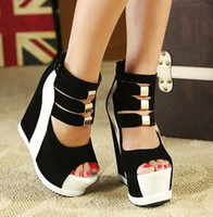 Wholesale Peep Toe Wedge Platform - Wholesale-Ladies Sexy Platform High Wedge Heel Sandals Women Summer Shoes Pumps With Back Zip