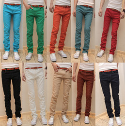 $enCountryForm.capitalKeyWord Canada - Wholesale-New Arrival Fall Season Men's Candy Color Jeans Slim Fit Pencil Pants Zipper Design Long Pants For Male