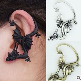 Wholesale Western Style Fashion Earrings - Wholesale-E582 Hot New Style Fashion Vintage Western Dinosaur Ear Cuff Clip Earrings Jewelry Quality guarantee free shipping
